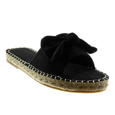 Angkorly Chaussure Mode Sandale Espadrille Slip-on Femme Noeud Corde Finition Surpiqûres Coutures Talon Bloc 2 CM