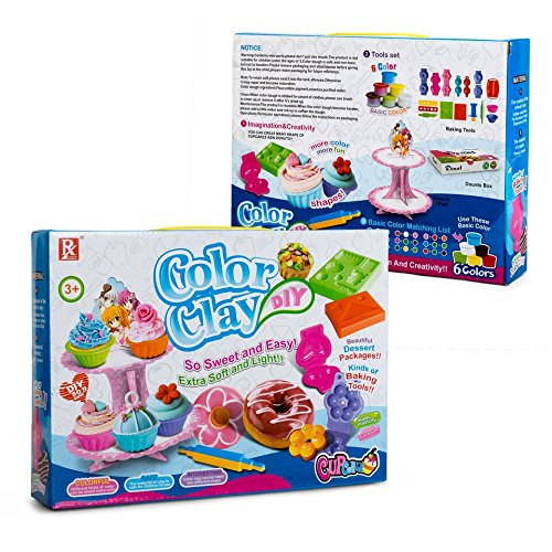 Play Baby Toys DIY Super Soft Clay Collection, Fast Food Series - Cupcake And Doughnut Set - So Yummy And Sweet