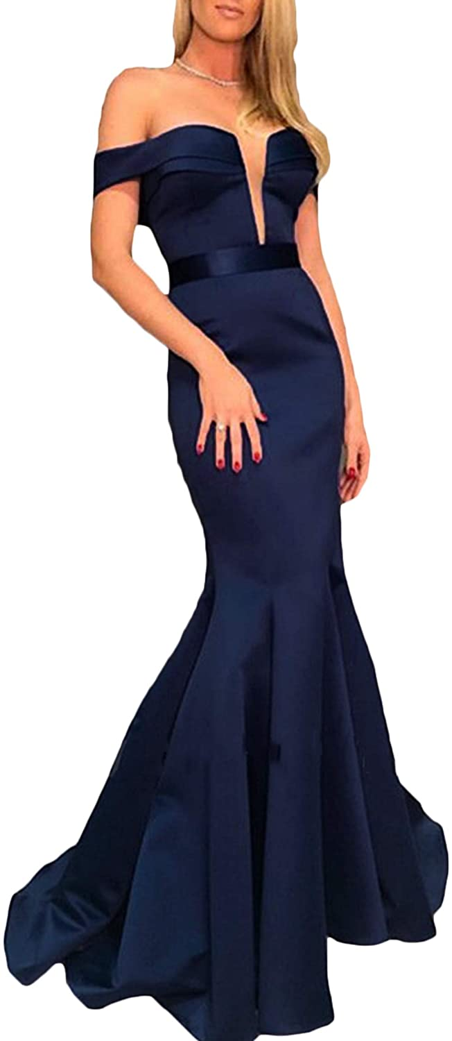 Navy bluee Rmaytiked Womens Off The Shoulder Mermaid Prom Dresses Long 2019 Satin Formal Evening Ball Gowns