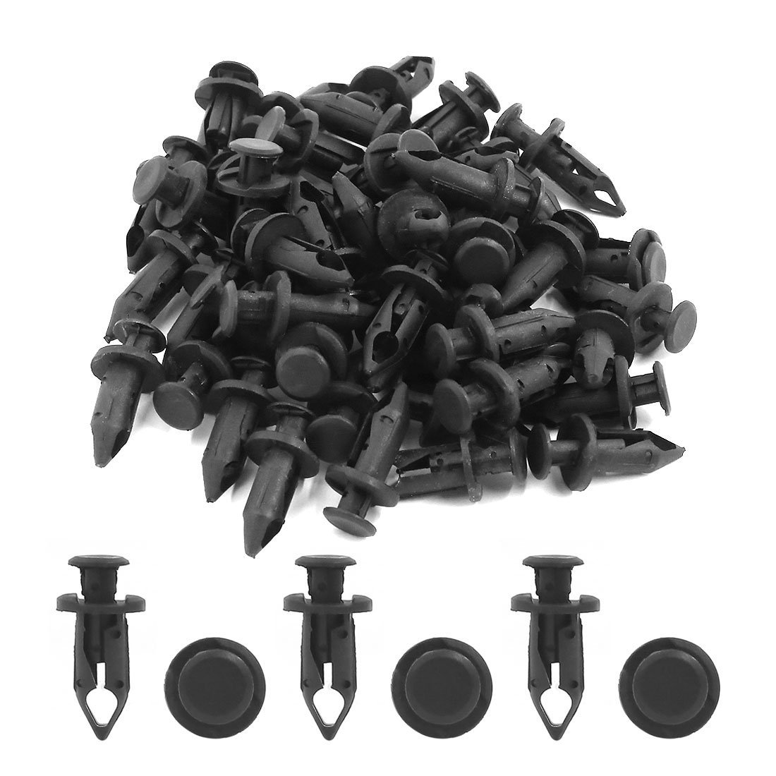 Amazon.com: eDealMax 50 Pcs Universal del coche de parachoques Fender 8mm agujero remaches de plástico recorte sujetadores Negro: Automotive