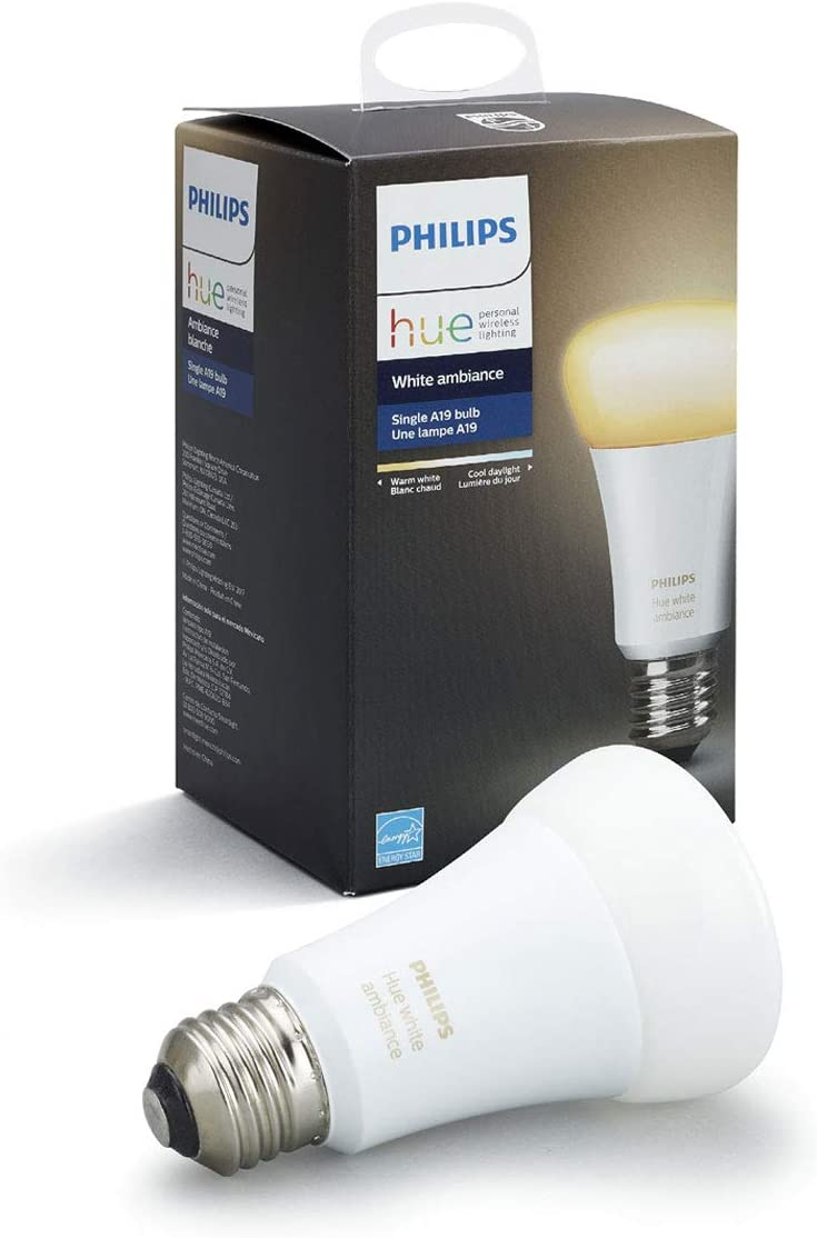 Philips Hue 461004 10w Dimmable Led Smart Hub Required Works With Alexa Homekit Google Assistant Hue White Ambiance Single A19 Bulb 1 Amazon Com