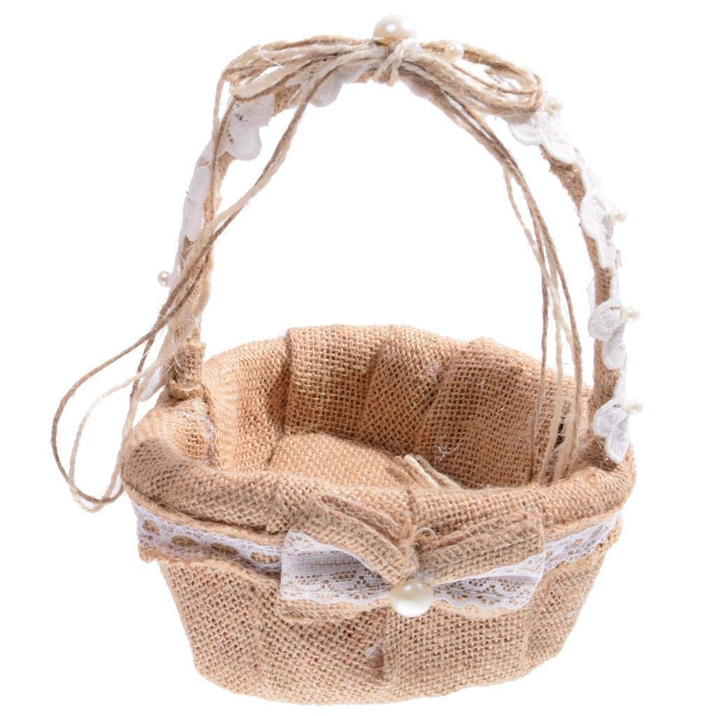 Agordo 23cm Vintage Burlap Hessian Flower Girl Love Basket Country Wedding Decor