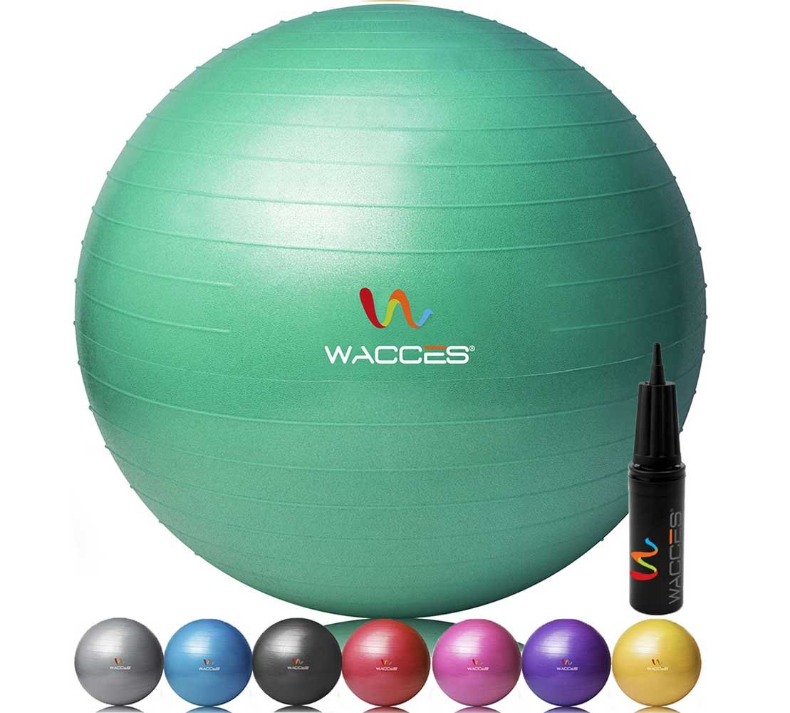 Wacces Professional Exercise, Stability and Yoga Ball for Fitness, Balance Gym Workouts- Anti Burst – Quick Pump Included
