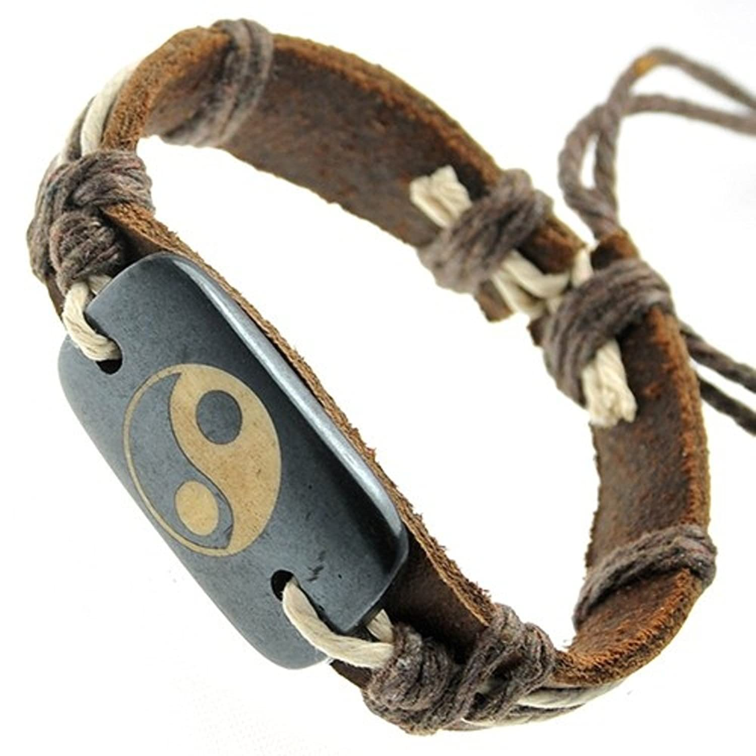 Brown Leather Bracelet With Ying Yang On Rectangular Bone Id