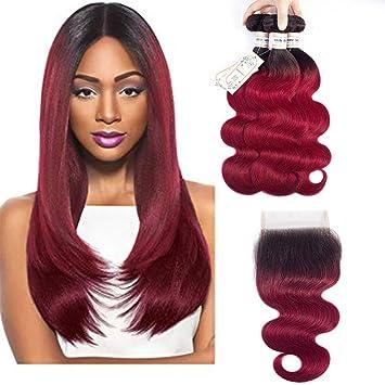 Amazon Com Black To Burgundy Ombre Brazilian Hair Bundles Body