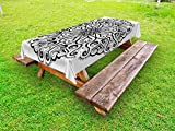 Ambesonne Mandala Outdoor Tablecloth, Ethnic Asian Floral Cosmos Symbol Traditional Meditation Pattern Monochrome Print, Decorative Washable Picnic Table Cloth, 58 X 104 inches, Black White