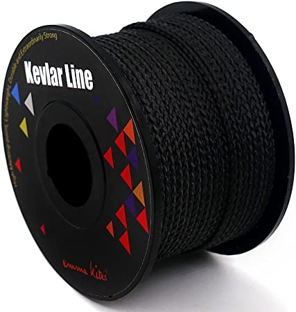 Tactical Emmakites 100/% Braided Kevlar String Black Utility Cord for Outdoor Activities 31m, 100lb Survival and Other General Purpose