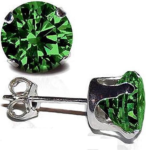 Sterling silver stud earrings 5mm crystal green solitaires