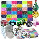 Fuse Beads Kit-11100 Beads 5mm 36 Colors(6 Glow in The Dark) Fuse Beads and 8 Pack Pegboards 132 Pattern +4Pack Ironing Paper+4Pack Tweezers+Fashion Accessories Storage Case Beads Compatible Kit