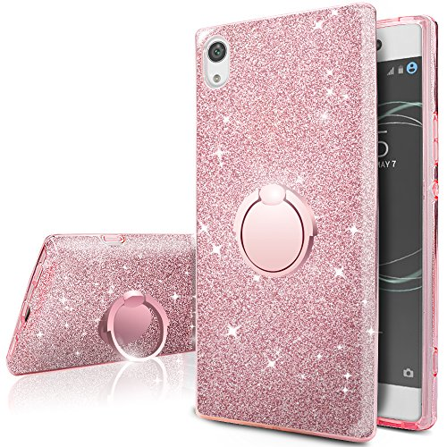Sony Xperia XA1 Ultra Case, Silverback Girls Bling Glitter Sparkle Case with 360 Rotating Ring Stand, Soft TPU Outer Cover + Hard PC Inner Shell Skin for Sony Xperia XA1 Ultra Case -Rose Gold