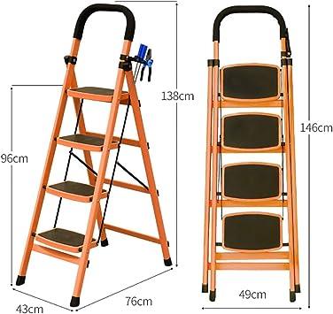 Escaleras Escalera plegable portátil de acero de 4 pasos, Taburete, Escalera de tijera doméstica, Escalera telescópica, Escalera de extensión, Escalera de tijera multiusos de jardín for oficina en cas: Amazon.es: Bricolaje y
