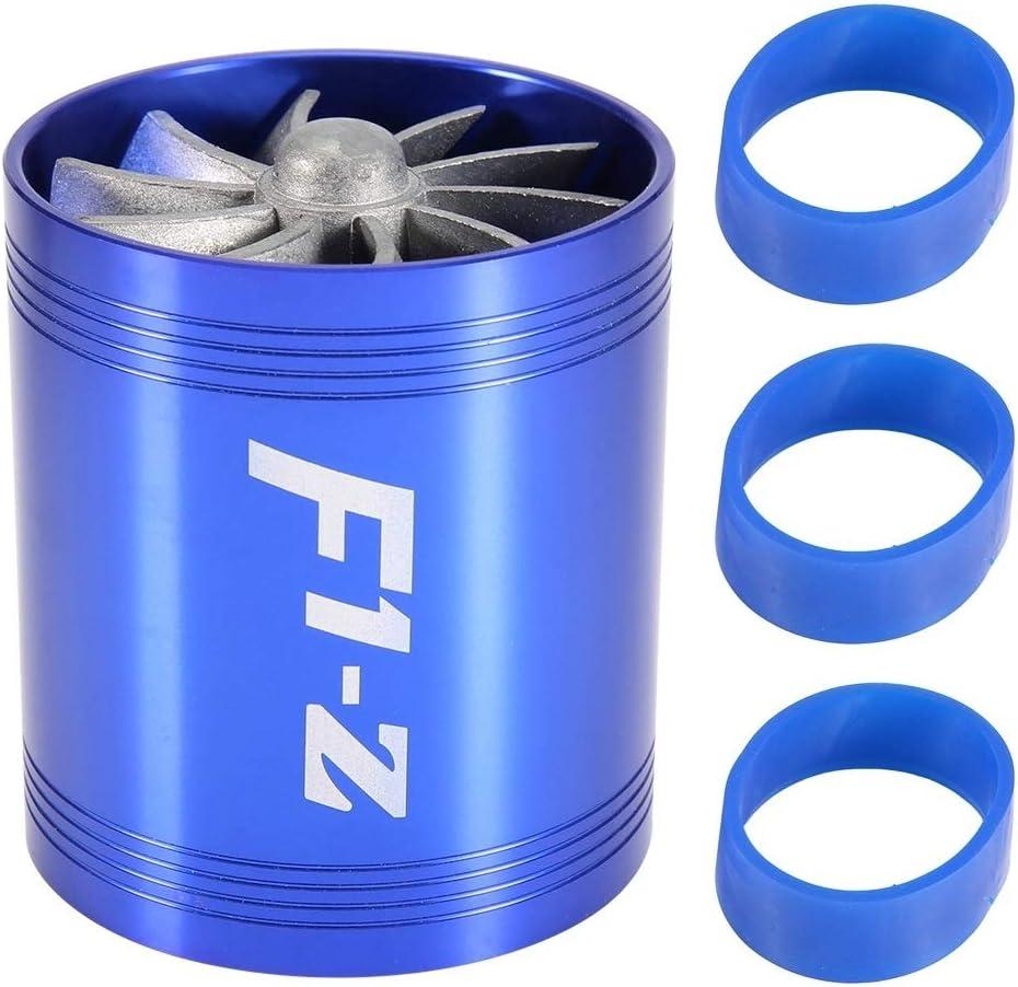 Tarente Admission dair Voiture Turbonator Double Ventilateur Turbine Super Charger Gas Fuel Saver Turbo Bleu
