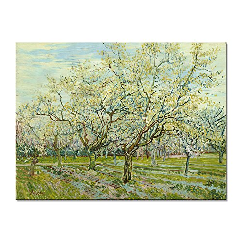 Wieco Art The White Orchard by Van Gogh Famous Oil Paintings Reproduction Large Modern Gallery Wrapped Landscapes Artworks Giclee Canvas Prints Green Pictures on Canvas Wall Art for Home (Famous Landscape Oil Paintings)