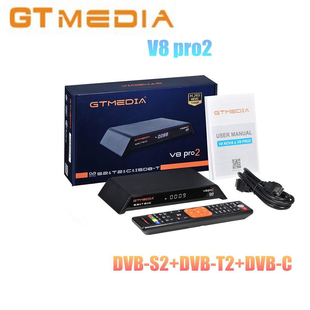 GTMedia V8 pro2 H.265 Full HD 1080P DVB-S2 DVB-T2 (SNC Satellite Receiver Support PowerVu, Biss Key Built-in WiFi B07MQ61L2R