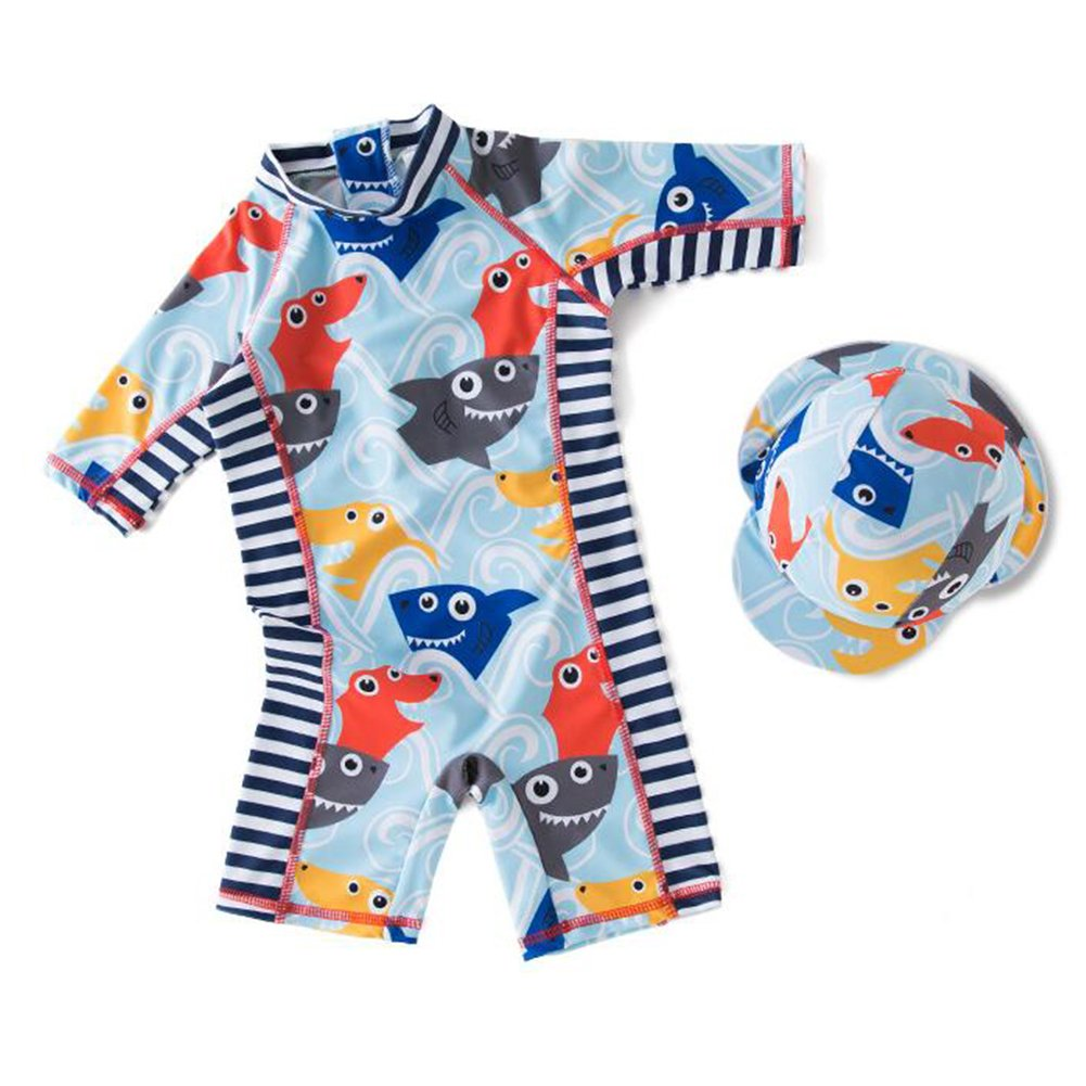 Zulaniu Baby Boys Swimsuit One Piece Swimwear Sunsuit with Hat Shark Rash Guard