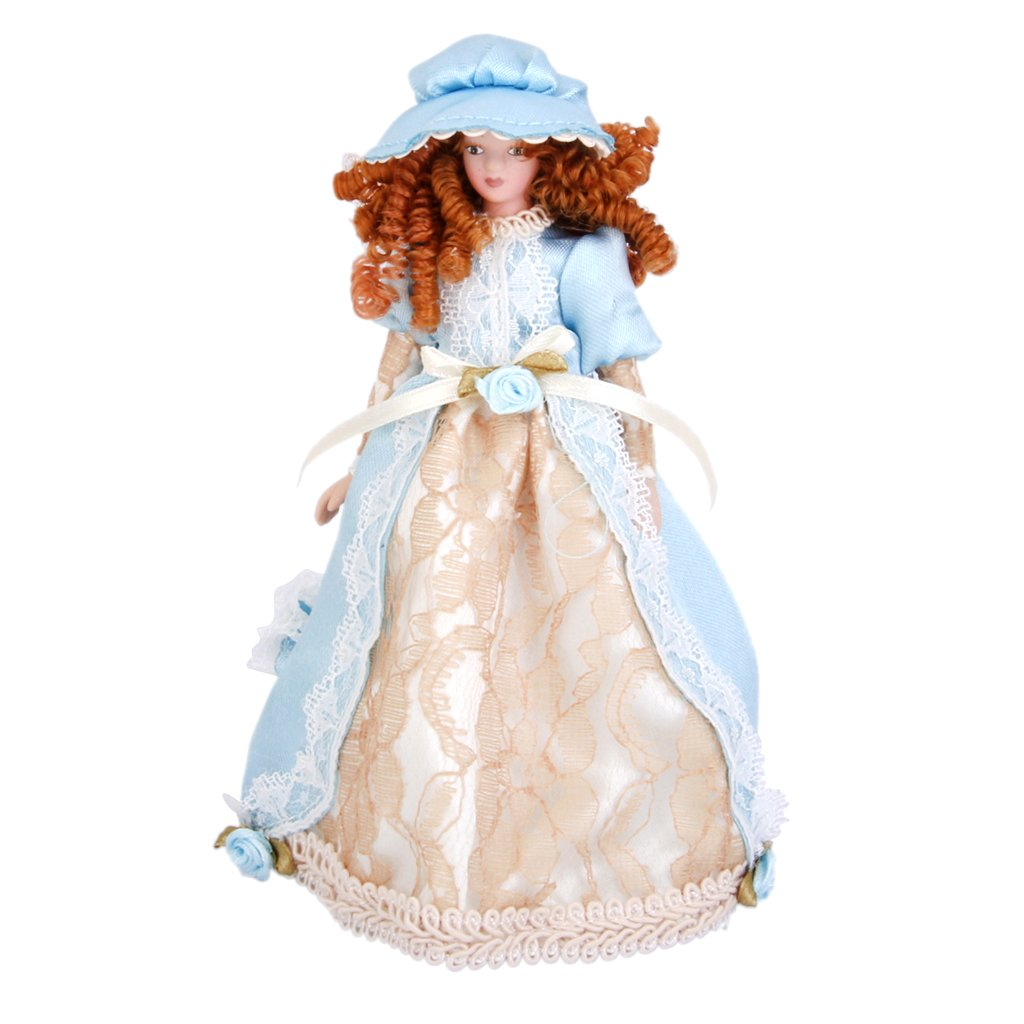 Se/ñorita Victoriana con Vestido Beige en Miniatura para Casa de Mu/ñecas Escala 1:12