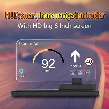 "6/"" Large HUD Head Up Display Project Phone//GPS Navigation Holder Support"