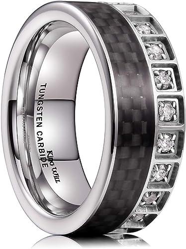 King Will Gem 8mm Mens Tungsten Carbide Wedding Ring Black Carbon