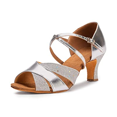 "Dress First Ballroom Dance Shoes Women 2.56"" Dancing High Heel Salsa Shoe Latin Sandals, Silver Gold 