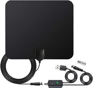 Antena de TV, antena digital HDTV para interiores con amplificador ajustable, amplificador de señal para canales locales de rango de 100 millas