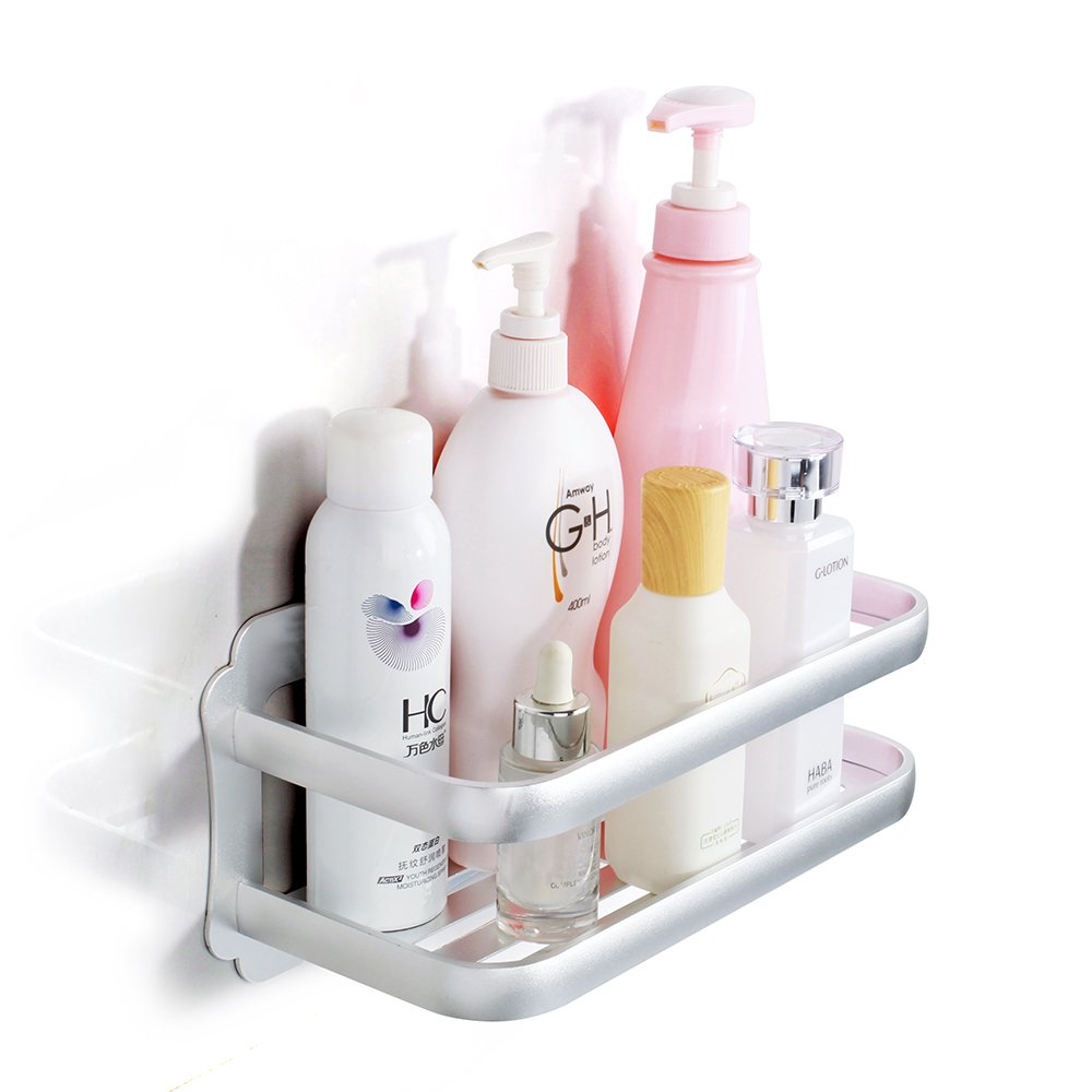 Wopeite Shower Caddy Bathroom Shower Shelf Space Aluminum Self Adhesive No Drilling Wall Mount