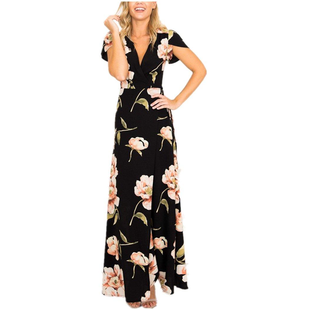 Vestido de Mujer, Lananas Mujeres 2018 Cuello de Pico de Verano Manga Corta Delantera Dividida Fiesta Nocturna Boda Playa Vestido Largo de Flores Maxi: ...