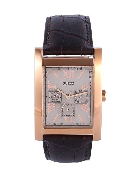 Guess Reloj analogico para Hombre de Cuarzo con Correa en Piel W0370G3: Amazon.es: Relojes