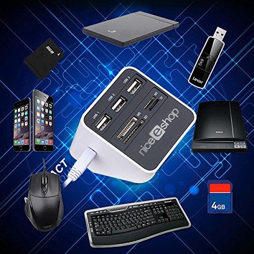 Mini Lector de Tarjetas,niceEshop(TM) 4 en 1 Micro SD/TF Lector de Tarjetas Adaptador,Compatible con Lightning, Type-c, USB-A/Micro-USB ,SD/TF Flash para El para IPhone IPad Android Apple Mac,Negro USB 2.0