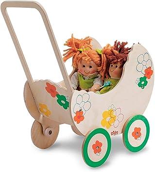 Dida Pequeña Cochecito de Madera para muñecas Decoración: Flores