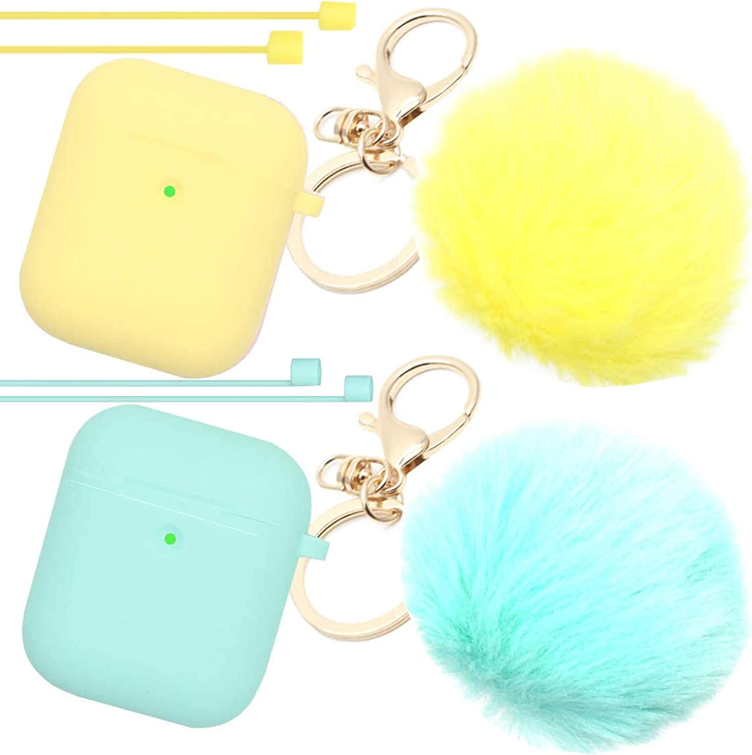 Airpods Case Newest Upgrade (Front LED Visible) ANTARCTICASE Skin Drop Proof Protective Pompom Keychain Case Cover Silicone for Apple Airpods 2&1 Charging Cute Fur Ball Keychain (Yellow+Mint Green)