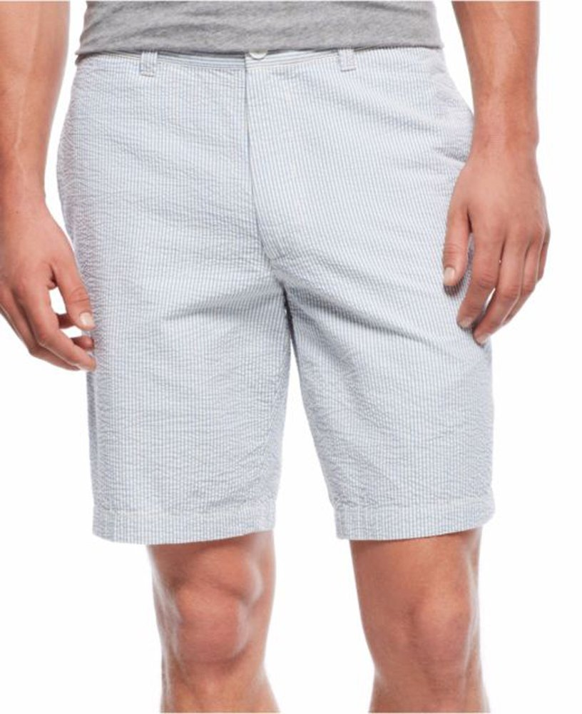 Club Room Mens Striped Textured Casual Shorts Blue 38