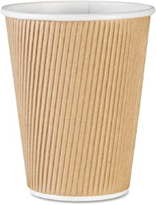 Genuine Joe GJO11260CT Insulated Ripple Hot Cup, 12-Ounce Capacity,(Pack of 500),Brown