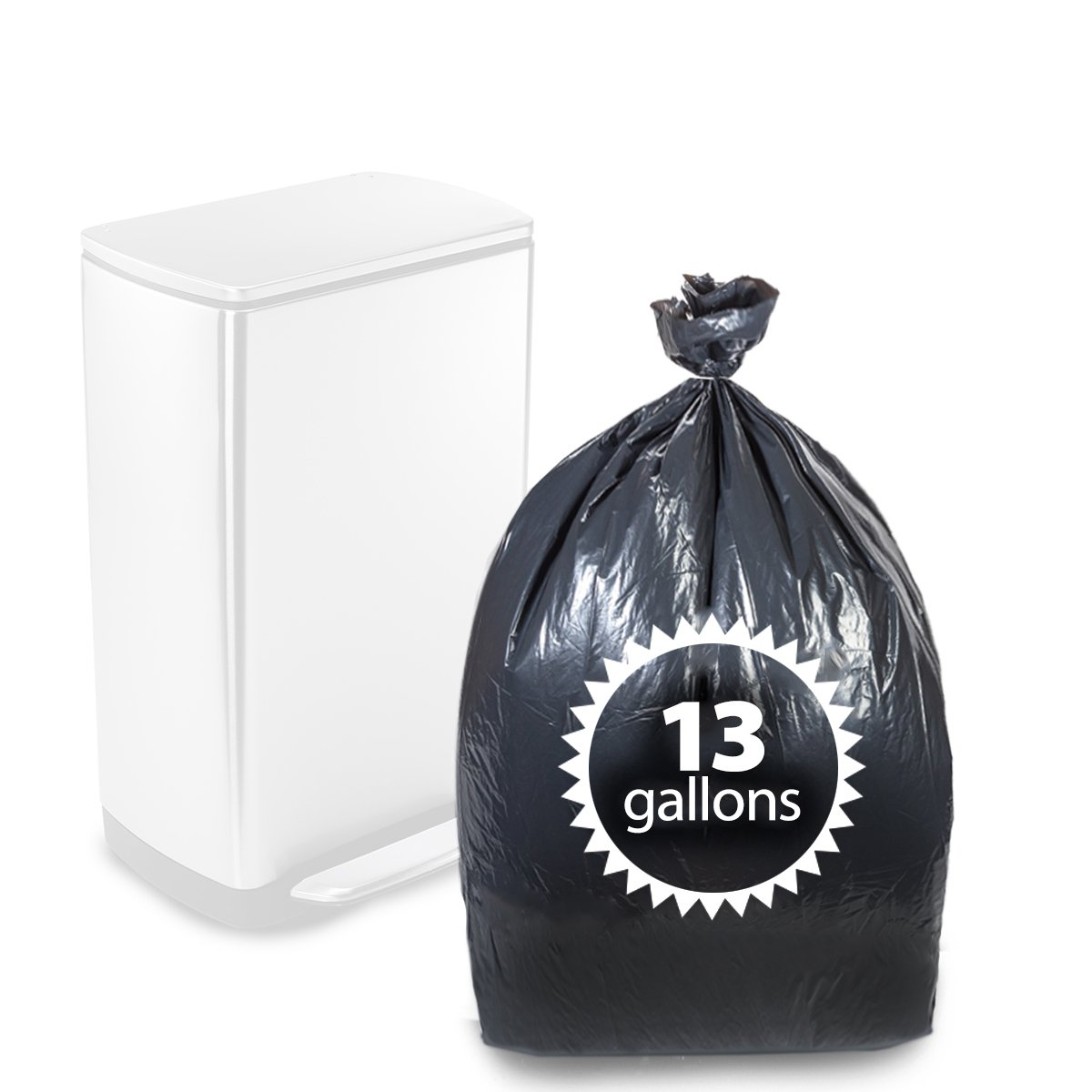 Kitchen Garbage Bags: Tall Kitchen Trash Bags Black 13 Gallon By Primode