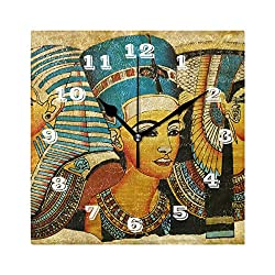 SEULIFE Wall Clock Ancient Egyptian Parchment, Silent Non Ticking Clock for Kitchen Living Room Bedroom Home Artwork Gift