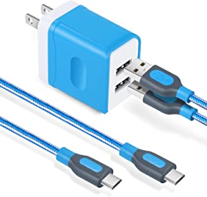 Android Charger Cable, Costyle 3.1 Amp Dual 2 Port USB Wall Charger Home Travel Charging Block with 2 Pack 6 ft Nylon Braided Micro USB Cable Compatible for Samsung Galaxy S7 S6 Edge, HTC, LG (Blue)