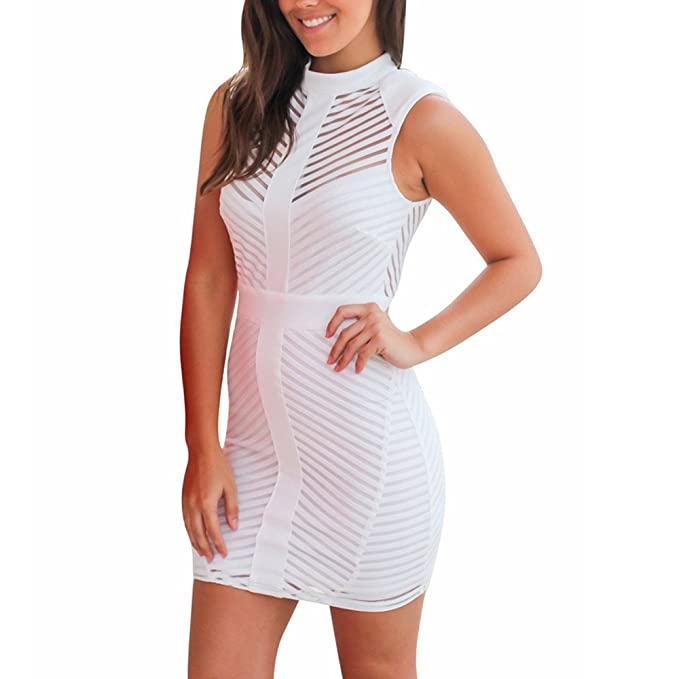 554b7fb35ca Fashion Women Girl O Neck Sleeveless Solid Hollow Out Sexy Slim Mini Above  Knee Dress Short Bodycon Evening Party Dress Plus Size Casual Summer