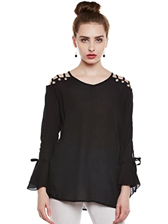 5df95f62b42929 ANTS Black Shoulder Three Cut Top for Women  Amazon.in  Clothing    Accessories