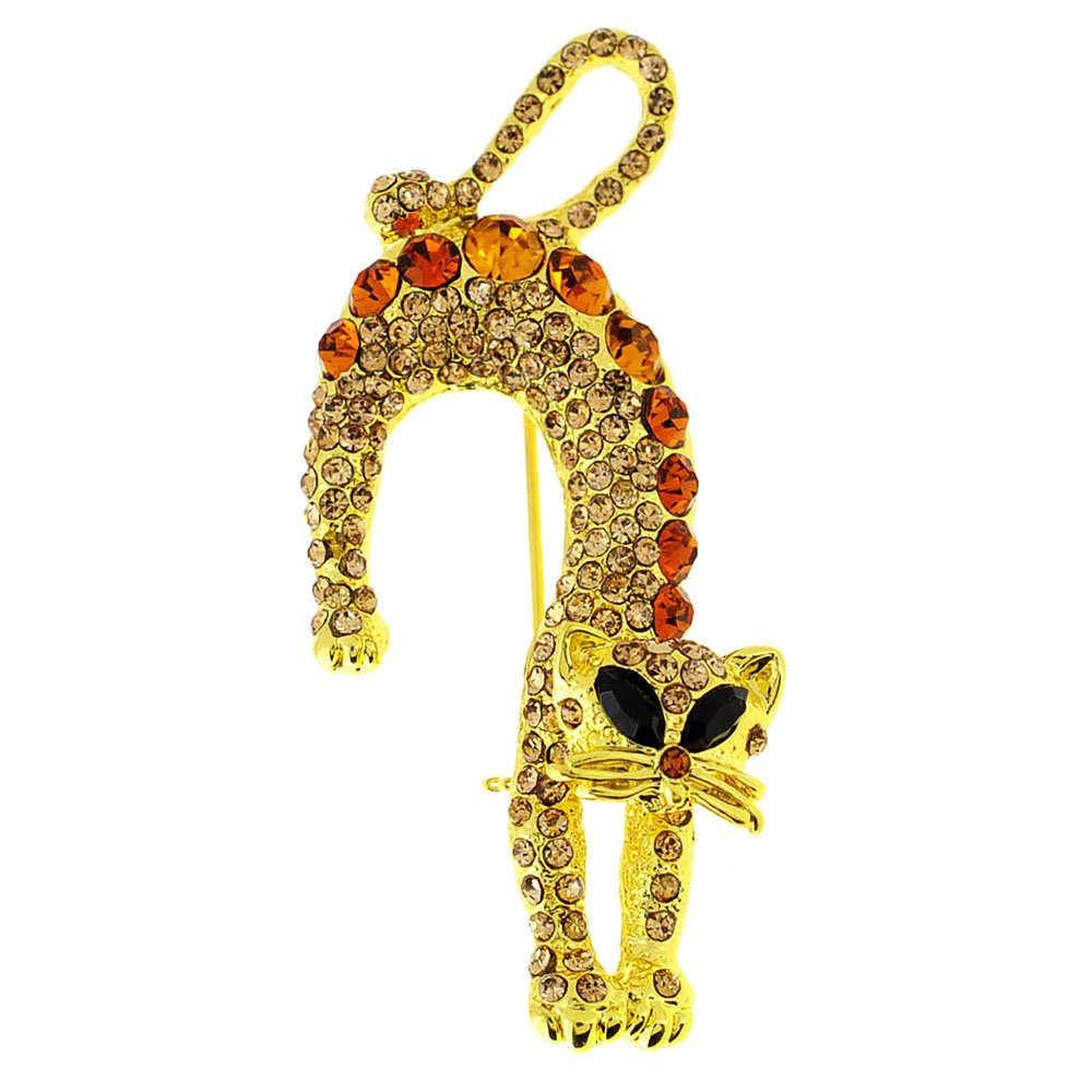 Fantasyard Golden Topaz Brown Crystal Cat Pin Brooch
