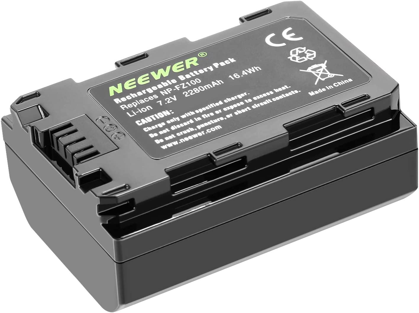 Neewer Battery Pack Replacement for Sony NP-FZ100, Compatible with Sony A9 A7III A7RIII Cameras and VG-C3EM Grip, 7.2v 2280mAh 16.4Wh Rechargeable Li-ion Battery (Only Battery)