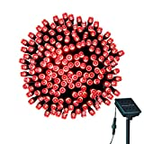 LOENDE Outdoor Solar String Lights - 72ft 200 LED 8 Modes Waterproof Red Fairy String Lights for Valentine's Christmas Tree Wreath Party Patio Lawn Yard Indoor Wedding Decor