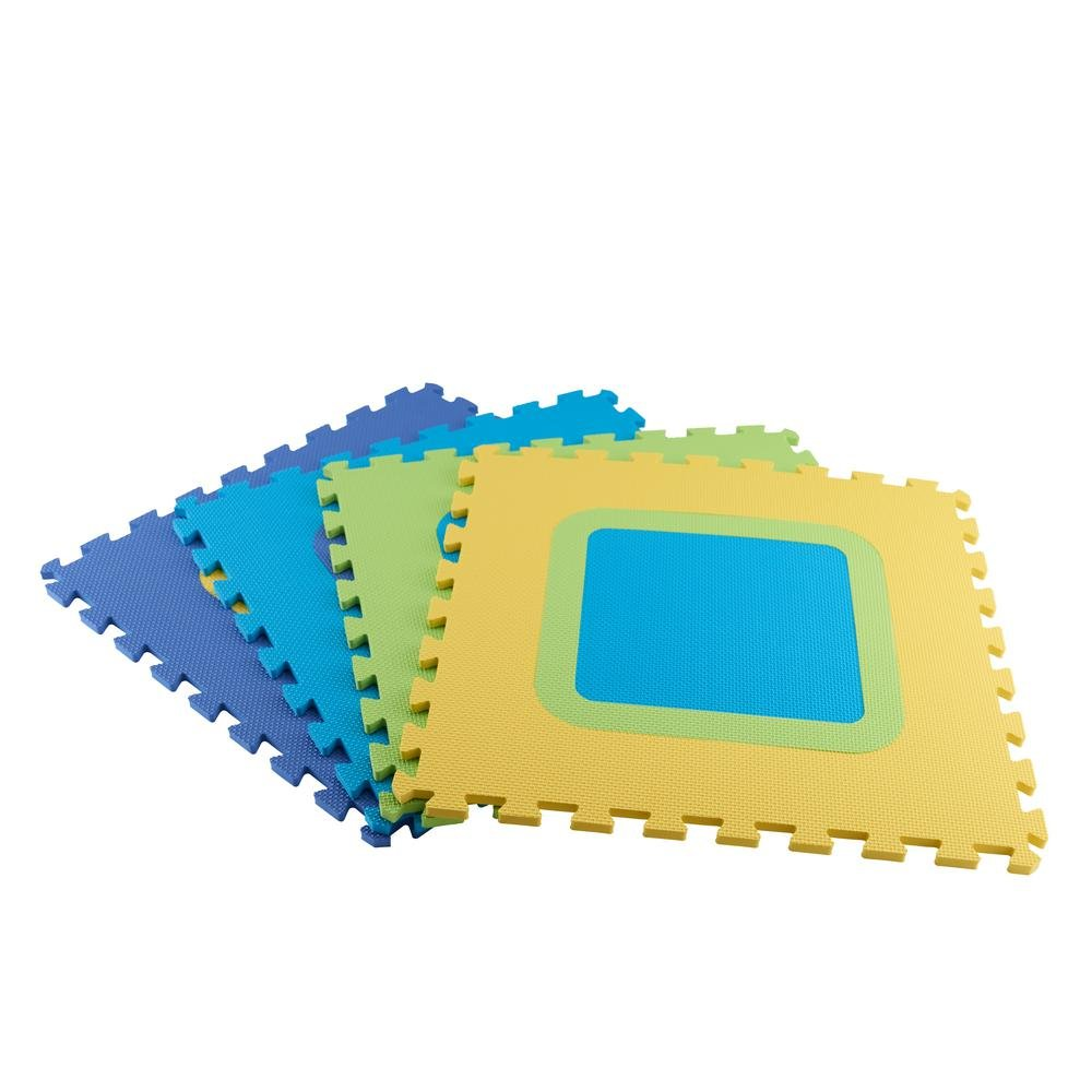 Multi-Color 20.86 in. x 20.86 in. x 0.39 in. Mix N Match Playroom Square Foam Floor (4-Pack)