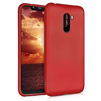 kwmobile Funda para Xiaomi Pocophone F1 - Carcasa para móvil en [TPU Silicona] - Protector [Trasero] en [Rojo Oscuro Metalizado]