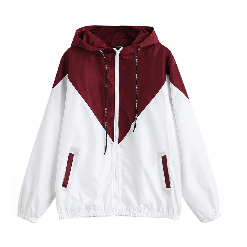 DEZZAL Women's Long Sleeve Hooded Collar Wide Waist Two Tone Windbreaker Jacket (Red with White, L)