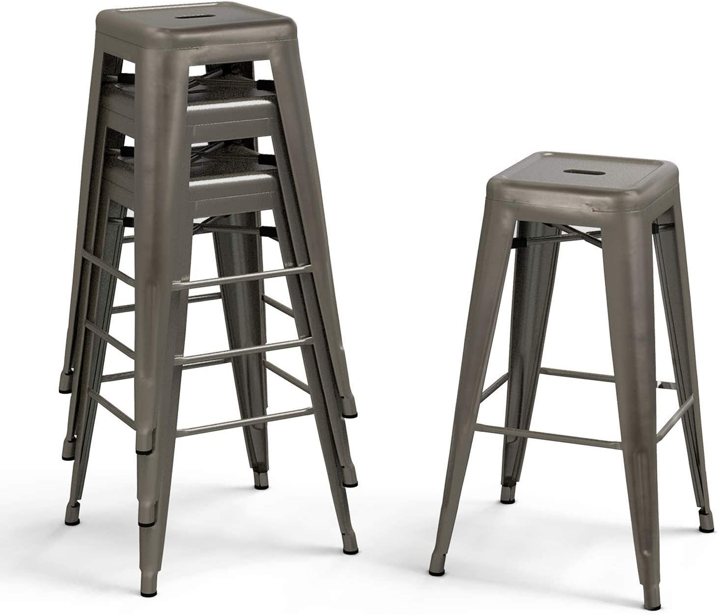 Bonzy Home Bar Stools Set of 4, 30 inches Metal Bar Stool Chair, Stackable Counter Height Barstools, Farmhouse Barstool for Kitchen and Outdoor Patio Furniture – Gunmetal