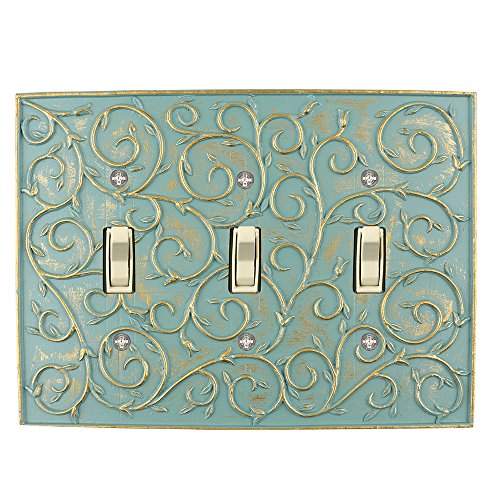Meriville French Scroll 3 Toggle Wallplate, Triple Switch Electrical Cover Plate, Buckingham Green with Gold