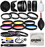 58mm Professional Lens +Filter Kit for DSLR Cameras featuring HD 0.43x Wide Lens + HD 2.2x Tele Lens + 13 Pcs HD filter package + more for Canon Rebel SL1 SL2 T5 T5i T6 T6I T7 T7i Digital SLR Cameras