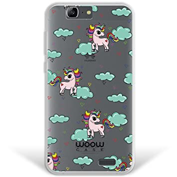 Funda Huawei Ascend G7, WoowCase® [ Hybrid ] Unicornios Arcoiris Colección Dibujos Animales Case Carcasa [ Huawei Ascend G7 ] Rígida fabricada en ...