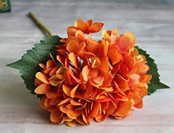 Amazon Yjbear Silk Artificial Orange Hydrangeas Flower For