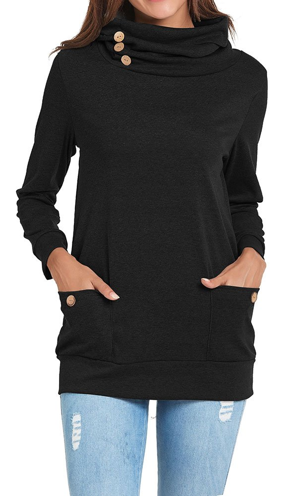 Chicgal Casual Long Sleeve Cowl Neck Tunic Tops for Women Black XL by Chicgal