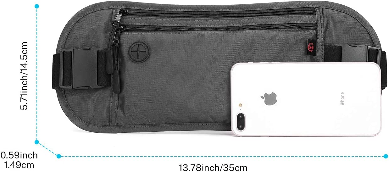 Slim Travel Wallet Passport Holder for Men /& Women Security Protection Waist Pack with Earphone Hole Gonex RFID Blocking Money Belt for Travel Water-Repellent Nylon and Breathable Mesh Cloth